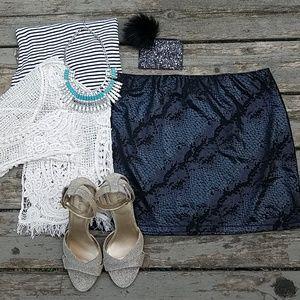 Express| black snakeskin mini skirt